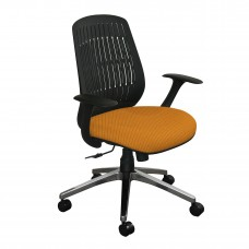 The Wave Flex-back  Chair with Orange Fabric and Chrome Plated Base