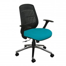 The Wave Flex-back  Chair with Teal Fabric and Chrome Plated Base