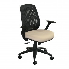 The Wave Flex-back  Chair with Flax Fabric and Black Base
