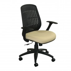 The Wave Flex-back  Chair with Forsythia Fabric and Black Base