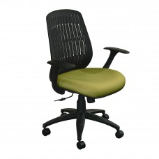 The Wave Flex-back  Chair with Fennel Fabric and Black Base