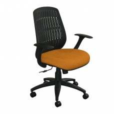 The Wave Flex-back  Chair with Orange Fabric and Black Base