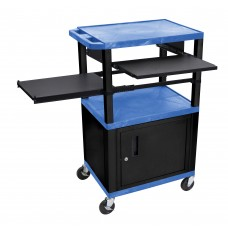 Luxor Tuffy Blue 3 Shelf & Black Legs, Cabinet & Front & Side Pull-out Shelves & Electric