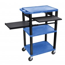 Luxor Tuffy Blue 3 Shelf W/ Black Legs, Front & Side Pull-out Shelves & Electric