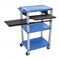 Luxor Tuffy Blue 3 Shelf W/ Nickel Legs & Black Front & Side Pull-out Shelves & Electric