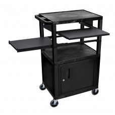 Luxor Tuffy Black 3 Shelf W/ Black Legs, Cabinet & Front & Side Pull-out Shelves & Electric