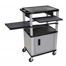 Luxor Tuffy Black 3 Shelf & Nickel Legs, Cabinet & Black Front & Side Pull-out Shelves & Electric