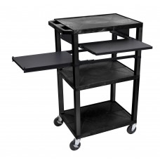 Luxor Tuffy Black 3 Shelf W/ Black Legs, Front & Side Pull-out Shelves & Electric