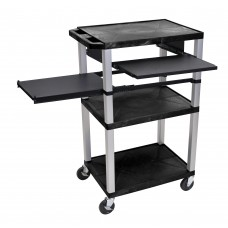 Luxor Tuffy Black 3 Shelf W/ Nickel Legs & Black Front & Side Pull-out Shelves & Electric