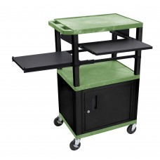 Luxor Tuffy Green 3 Shelf W/ Black Legs, Cabinet & Front & Side Pull-out Shelves & Electric
