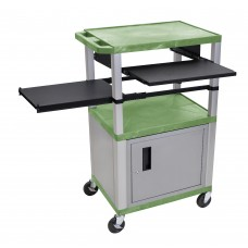 Luxor Tuffy Green 3 Shelf & Nickel Legs, Cabinet & Black Front & Side Pull-out Shelves & Electric