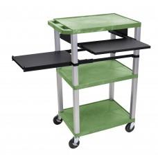 LuxorTuffy Green 3 Shelf W/ Nickel Legs & Black Front & Side Pull-out Shelves & Electric