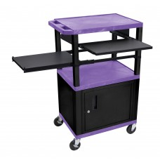 Luxor Tuffy Purple 3 Shelf W/ Black Legs, Cabinet & Front & Side Pull-out Shelves & Electric