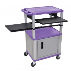 Luxor Tuffy Purple 3 Shelf & Nickel Legs, Cabinet & Black Front & Side Pull-out Shelves & Electric