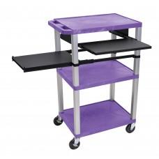 Luxor Tuffy Purple 3 Shelf W/ Nickel Legs & Black Front & Side Pull-out Shelves & Electric