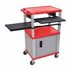 Luxor Tuffy Red 3 Shelf & Nickel Legs, Cabinet & Black Front & Side Pull-out Shelves & Electric