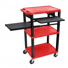 Luxor Tuffy Red 3 Shelf W/ Black Legs, Front & Side Pull-out Shelves & Electric