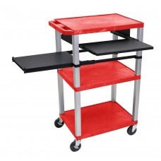 Luxor Tuffy Red 3 Shelf W/ Nickel Legs & Black Front & Side Pull-out Shelves & Electric