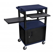 Luxor Tuffy Navy Blue 3 Shelf W/ Black Legs, Cabinet & Front & Side Pull-out Shelves & Electric