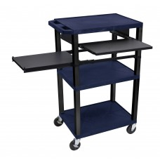 Luxor Tuffy Navy Blue 3 Shelf W/ Black Legs, Front & Side Pull-out Shelves & Electric
