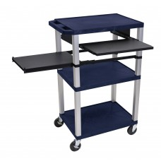 Luxor Tuffy Navy Blue 3 Shelf W/ Nickel Legs & Black Front & Side Pull-out Shelves & Electric