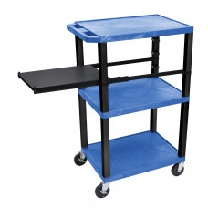 Luxor Tuffy Blue 3 Shelf W/ Black Legs & Side Pull-out Shelf & Electric