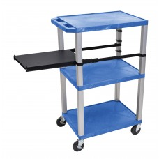 Luxor Tuffy Blue 3 Shelf W/ Nickel Legs & Black Side Pull-out Shelf & Electric