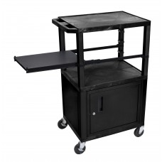 Luxor Tuffy Black 3 Shelf W/ Black Legs, Cabinet & Side Pull-out Shelf & Electric