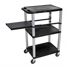 Luxor Tuffy Black 3 Shelf W/ Nickel Legs & Black Side Pull-out Shelf & Electric