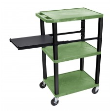 Luxor Tuffy Green 3 Shelf W/ Black Legs & Side Pull-out Shelf & Electric