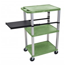 Luxor Tuffy Green 3 Shelf W/ Nickel Legs & Black Side Pull-out Shelf & Electric