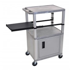 Luxor Tuffy Gray 3 Shelf & Nickel Legs, Cabinet & Black Side Pull-out Shelf & Electric