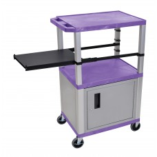 Luxor Tuffy Purple 3 Shelf & Nickel Legs, Cabinet & Black Side Pull-out Shelf & Electric