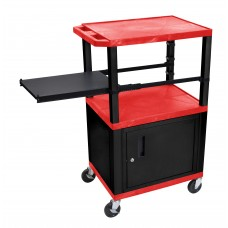 Luxor Tuffy Red 3 Shelf W/ Black Legs, Cabinet &  Side Pull-out Shelf & Electric