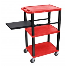 Luxor Tuffy Red 3 Shelf W/ Black Legs & Side Pull-out Shelf & Electric
