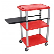 Luxor Tuffy Red 3 Shelf W/ Nickel Legs & Black Side Pull-out Shelf & Electric