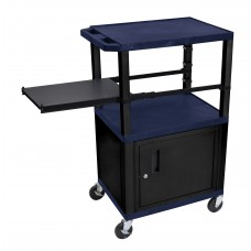 Luxor Tuffy Navy Blue 3 Shelf W/ Black Legs, Cabinet &  Side Pull-out Shelf & Electric