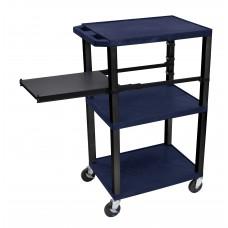 Luxor Tuffy Navy Blue 3 Shelf W/ Black Legs & Side Pull-out Shelf & Electric