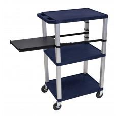 Luxor Tuffy Navy Blue 3 Shelf W/ Nickel Legs & Black Side Pull-out Shelf & Electric