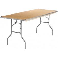 30'' x 72'' Rectangular HEAVY DUTY Birchwood Folding Banquet Table with METAL Edges and Protective Corner Guards [XA-3072-BIRCH-M-GG]