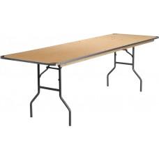 30'' x 96'' Rectangular HEAVY DUTY Birchwood Folding Banquet Table with METAL Edges and Protective Corner Guards [XA-3096-BIRCH-M-GG]