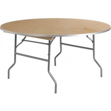 60'' Round HEAVY DUTY Birchwood Folding Banquet Table with METAL Edges [XA-60-BIRCH-M-GG]
