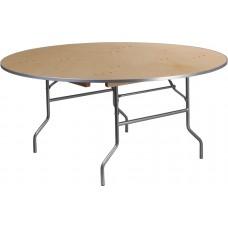 66'' Round HEAVY DUTY Birchwood Folding Banquet Table with METAL Edges [XA-66-BIRCH-M-GG]