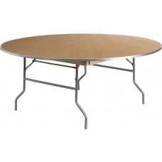72'' Round HEAVY DUTY Birchwood Folding Banquet Table with METAL Edges [XA-72-BIRCH-M-GG]