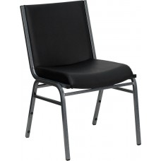 HERCULES Series Heavy Duty Black Vinyl Fabric Stack Chair [XU-60153-BK-VYL-GG]