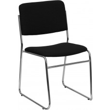 HERCULES Series 1000 lb. Capacity Black Fabric High Density Stacking Chair with Chrome Sled Base [XU-8700-CHR-B-30-GG]