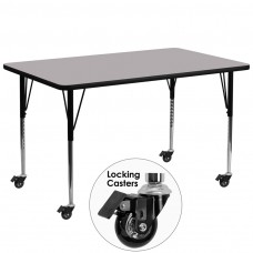 Mobile 30''W x 72''L Rectangular Grey Thermal Laminate Activity Table - Standard Height Adjustable Legs [XU-A3072-REC-GY-T-A-CAS-GG]