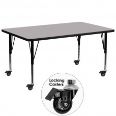 Mobile 30''W x 72''L Rectangular Grey Thermal Laminate Activity Table - Height Adjustable Short Legs [XU-A3072-REC-GY-T-P-CAS-GG]