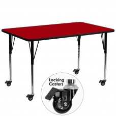 Mobile 30''W x 72''L Rectangular Red Thermal Laminate Activity Table - Standard Height Adjustable Legs [XU-A3072-REC-RED-T-A-CAS-GG]