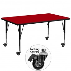 Mobile 30''W x 72''L Rectangular Red Thermal Laminate Activity Table - Height Adjustable Short Legs [XU-A3072-REC-RED-T-P-CAS-GG]